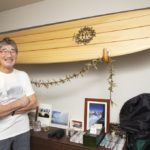 saga-san photo with surfboard