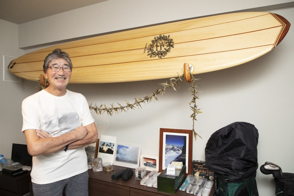 saga-san photo with surfboard